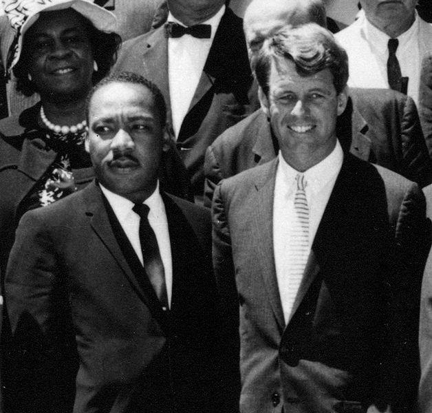 MLK with RFK, both died of gunshot wounds (JFK Library, via Wikimedia Commons)