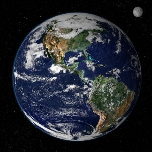 Earth, from space (NASA image, Wiki-commons)